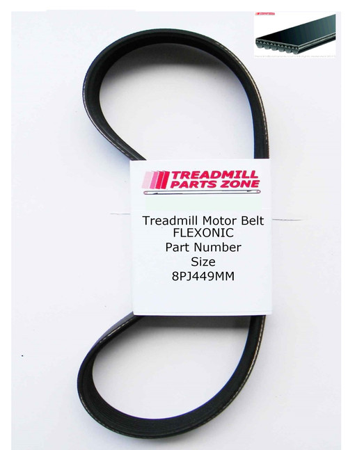 Treadmill Motor Belt Flexonic Part Number 8PJ449MM