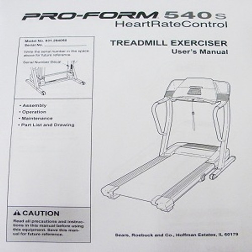 Sears Treadmill User's Manual 203634