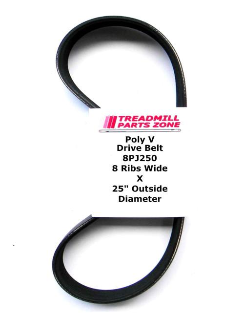 "Poly V Drive Belt 8PJ250 8 Ribs Wide X 25"" Outside Diameter"