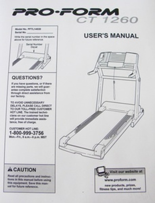 Pro Form Treadmill Model PFTL14920  User's Manual