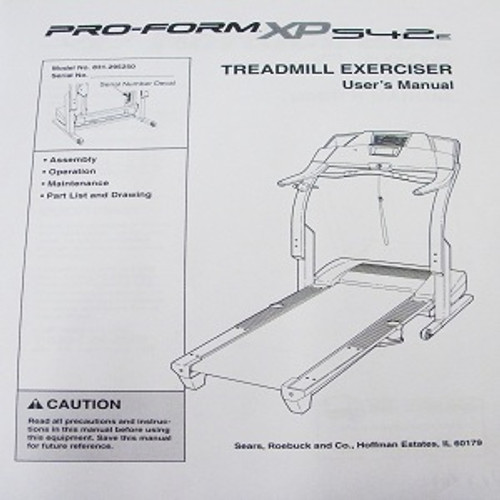 Pro Form Treadmill Users Manual XP542E