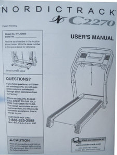Nordic Track Treadmill NTL1295 User's Manual