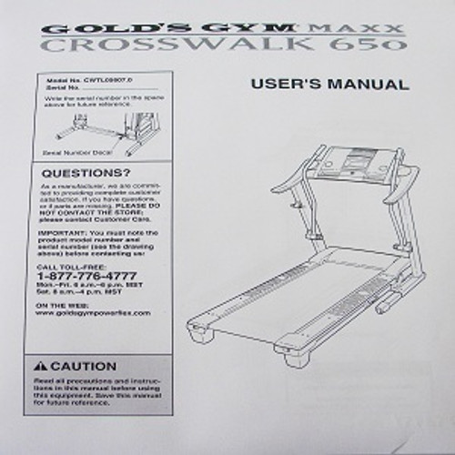 Gold's Gym Treadmill MAXX 650 User's Manual 258951