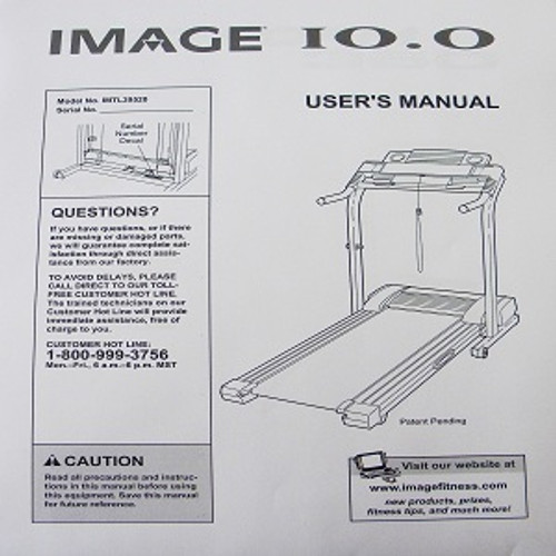 IMAGE Treadmill 10.0 User's Manual 185951