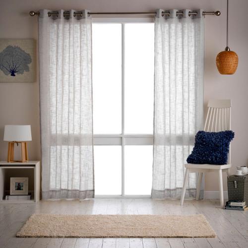 Mila Eyelet Sheer Curtain (pair) by Filigree