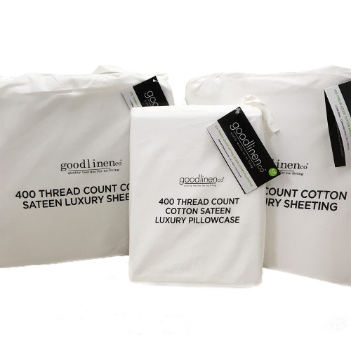 White 400 Thread Count 100% Cotton Sateen Luxury Sheeting by Good Linen Co