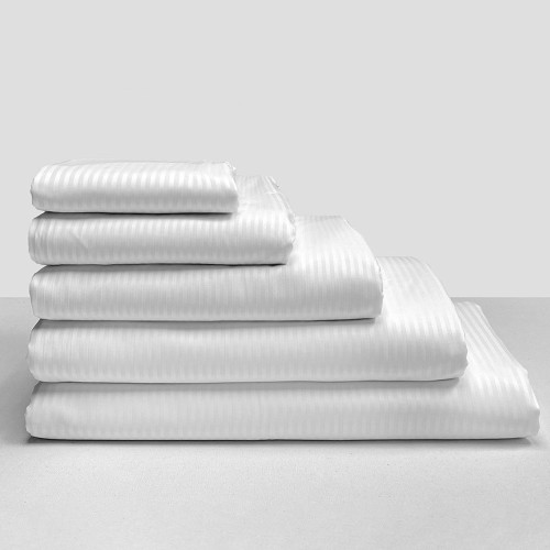 Commercial Jubilee 80/20 4mm Sateen Stripe Flat Sheets and Pillowcases