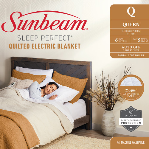 Sleep Perfect Quilted Electric Blanket by Sunbeam