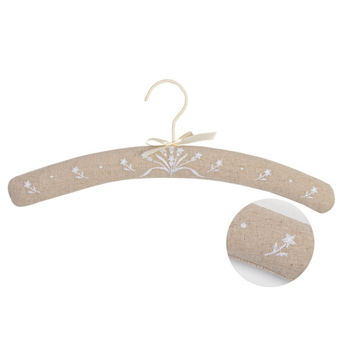 Linen Floral Embroidered Coat Hanger by Linens and More
