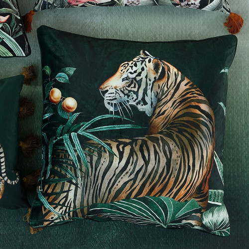 Caspian Jungle Square Tiger Cushion by MM Linen