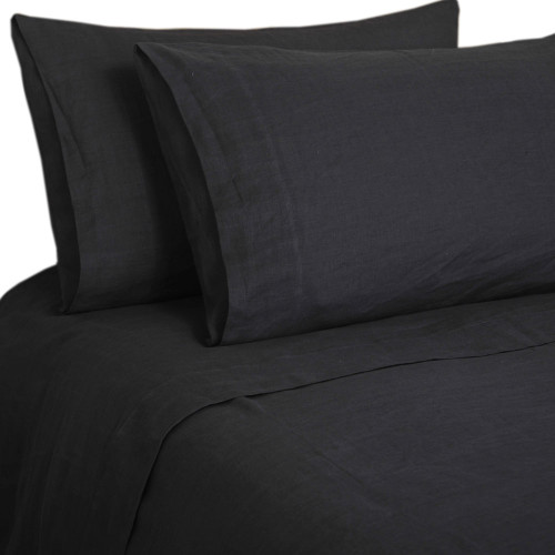 Laundered Linen Sheet Sets by MM Linen-Charcoal-King