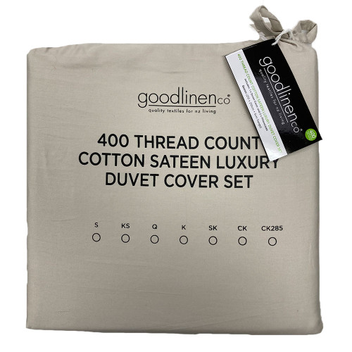 Sand 400 Thread Count 100% Cotton Sateen Luxury Duvet Cover Set by Good Linen Co
