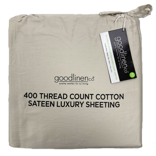 Sand 400 Thread Count 100% Cotton Sateen Luxury Sheeting by Good Linen Co