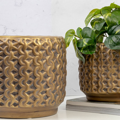 Gold Deco Pot by Linens and More