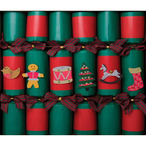 Fill Your Own - Red and Green Kraft Christmas Crackers (Box of 6)