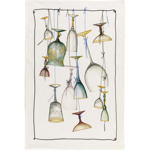 Murano Glasses 100% Linen Tea Towel by Tessitura Toscana Telerie
