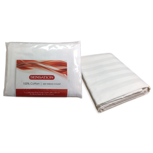 100% Cotton White Self-Stripe Oversized Californian King Duvet Cover Set by Silk Sensation