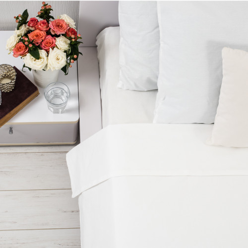 500 Thread Count Pure Egyptian Cotton White Sheet Set by Seneca
