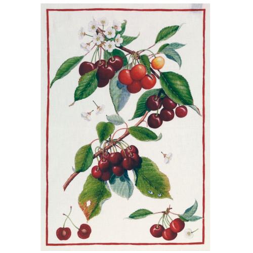Cherries 100% Linen Tea Towel by Tessitura Toscana Telerie