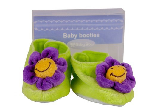 Cotton Velour Flower Booties (Purple) by Baby Bow