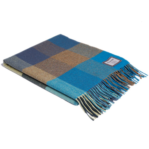 Blue with Citrus Check Lambswool Throw by Foxford