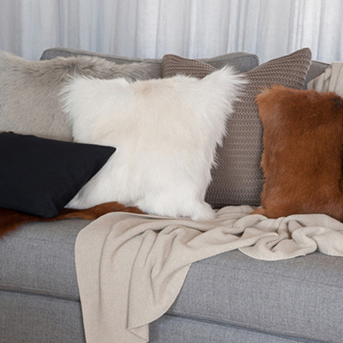 Adore Natural Goat Fur Cushion by Mulberi