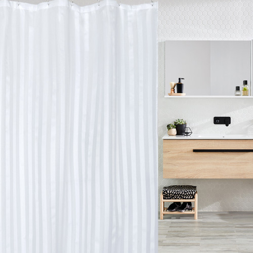 Commercial White Self Striped Shower Curtain (180 x 200cm)