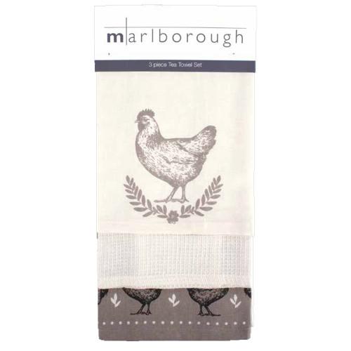 Chicken 3 Piece Tea Towel Set by Marlborough