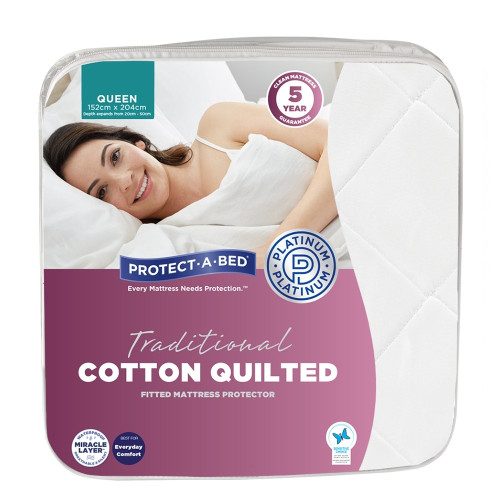 Traditional Cotton Quilted Fitted Waterproof Mattress Protector by Protect-A-Bed