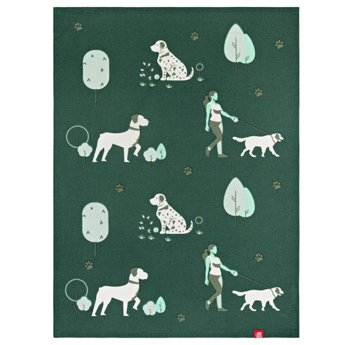 Dogs N Green Tea Towel by Linens & More