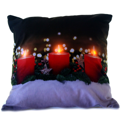 Red Candles Light Up Christmas Cushion