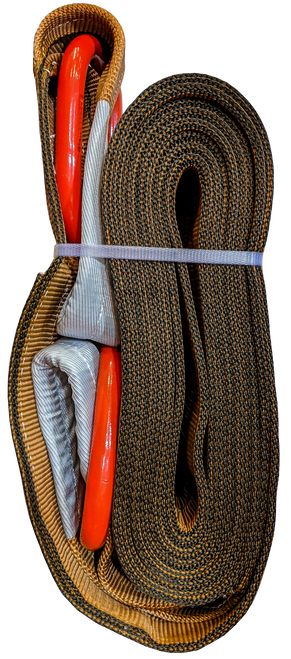 Tow Strap - Brown, 6 inch x 30ft D-Rings, 96,000 LBS