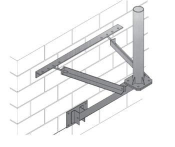 "Wall Mount, 36"" Offset From Wall, 4.00"" O.D. x 3' Mast"