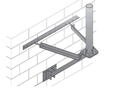 """WL-2 Wall Mount, 36"""" Offset From Wall, 2.37"""" O.D. x 3' Mast"""