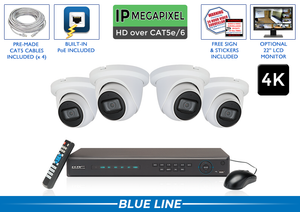 PRO Series Complete 4 IP Camera System with Free Upgrade to 8 Channel NVR / 4POEMIC8