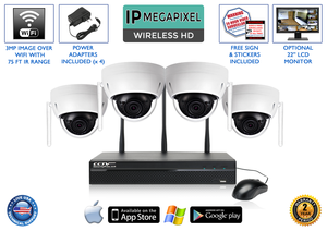 1080p Wireless IP POE Dome Camera System