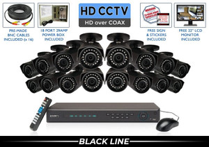 PRO Series Complete 16 HD over Coax Camera System / 16PROCVIBK4-B