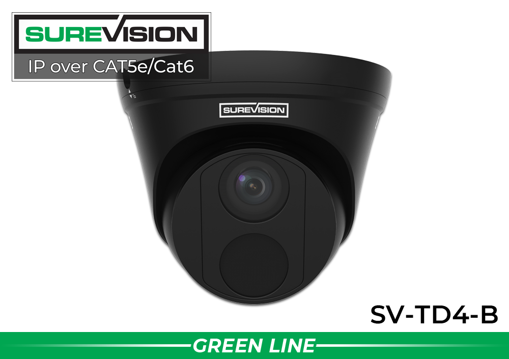 SUREVISION 4MP Fixed Dome IP Network Camera - Black
