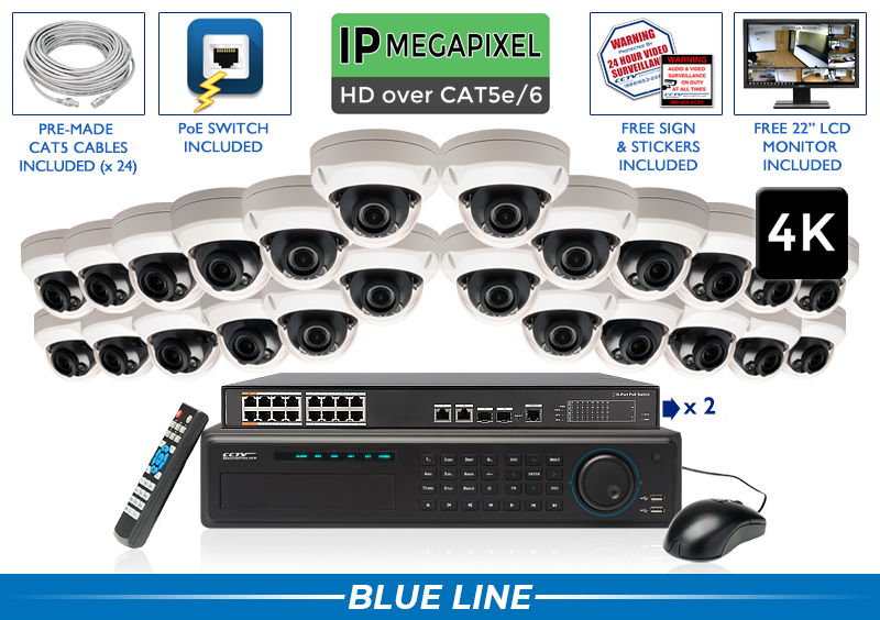 EXTREME Series Complete 24 (4K) IP Camera System with 32 Channel NVR / 24NVRAD8