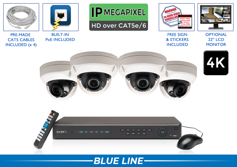 4K 4 Channel Network Video Recorder with 4 Dome 8MP IP Infrared Dome Cameras