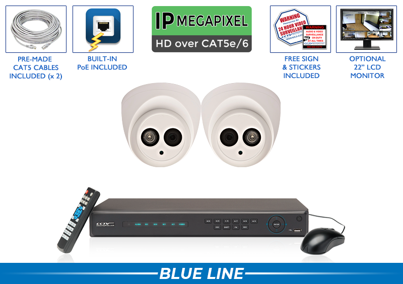 (AUDIO on ALL CAMERAS) 4 Channel Network Video Recorder with 2 Dome 4MP IP Infrared Security Cameras