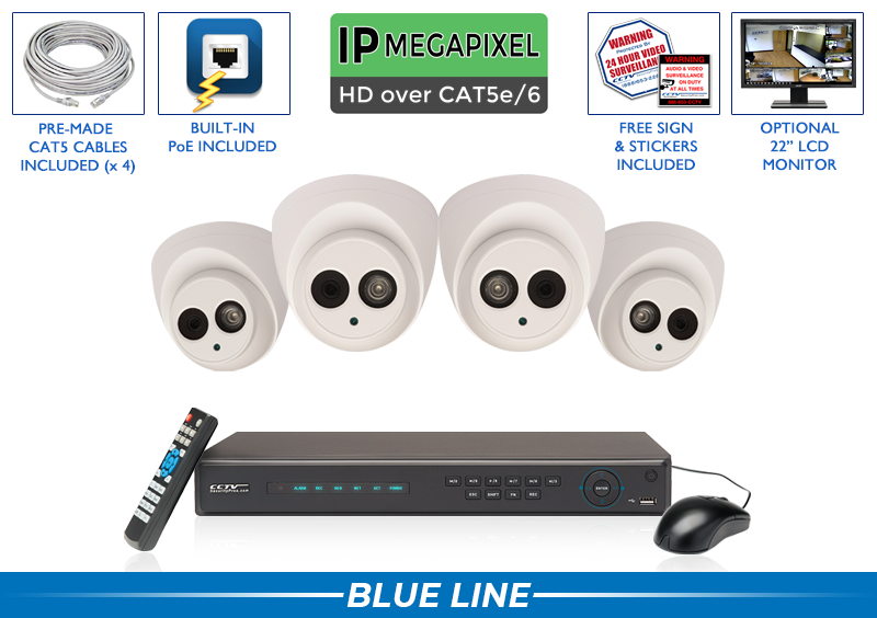 PRO Series Complete 4 IP Camera System with Free Upgrade to 8 Channel NVR / 4POEMIC4
