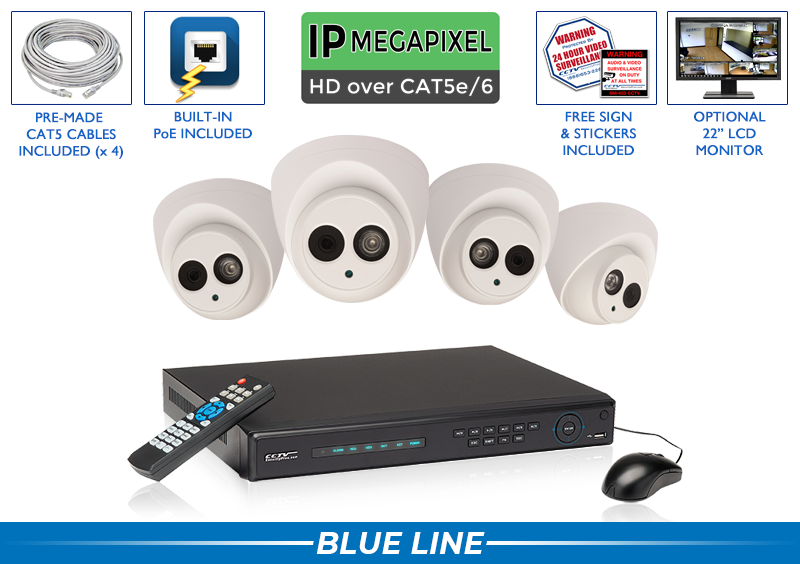 (ALL AUDIO) 4 Channel Network Video Recorder with 4 Dome 4MP IP POE Infrared Bullet Cameras with 164 Foot Night Vision