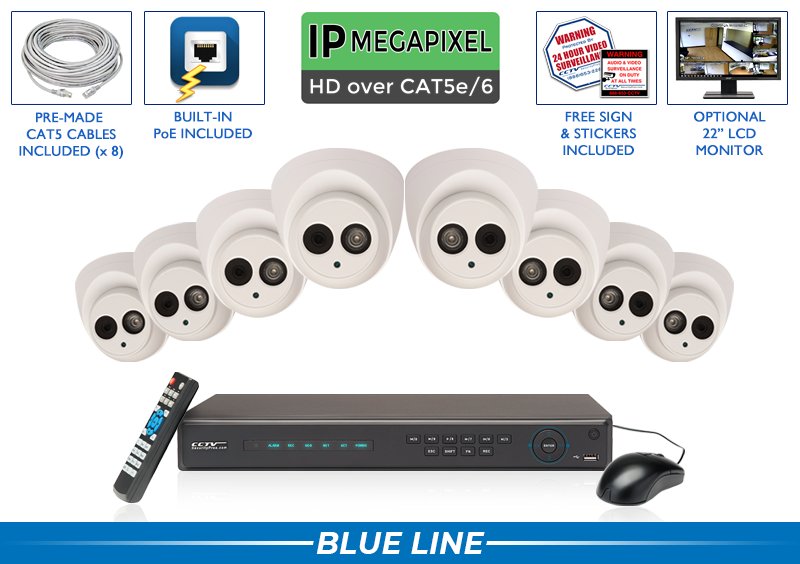 PRO Series Complete 8 IP Camera System with Free Upgrade to 16 Channel NVR / 8POEMIC4