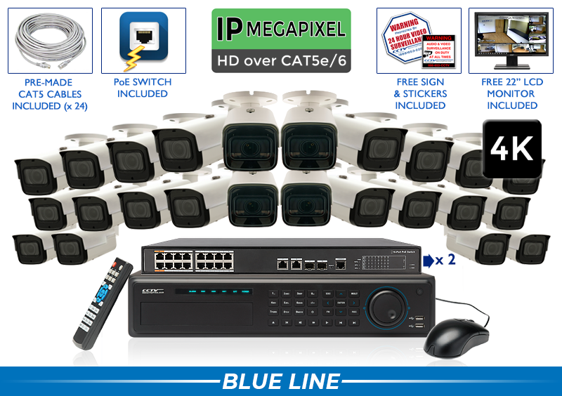 EXTREME Series Complete 24 (4K) IP Camera System with 32 Channel NVR / 24NVRMX8