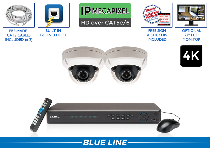 PRO Series Complete 2 (4K) IP Camera System with 4 Channel NVR / 2POEAD8