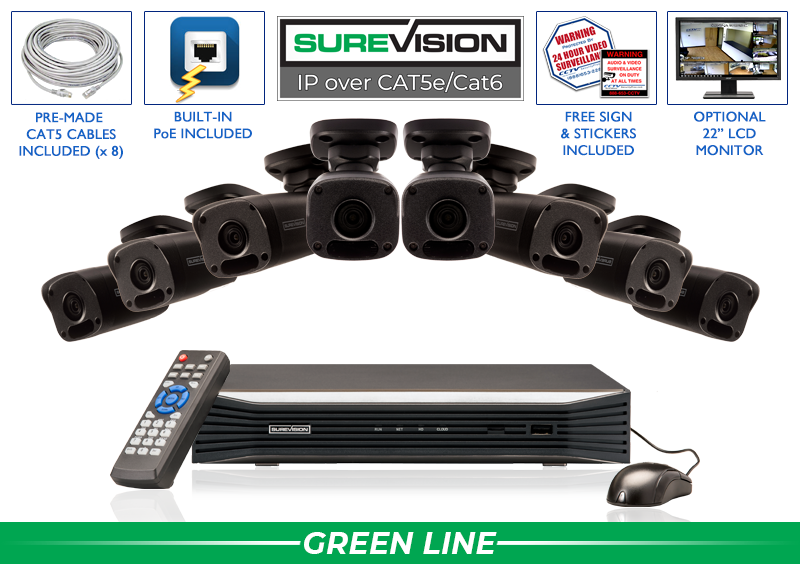 """""""SPECIAL OFFER"""" Complete Professional 8 Channel IP Camera System / 8IPMB4-B"""