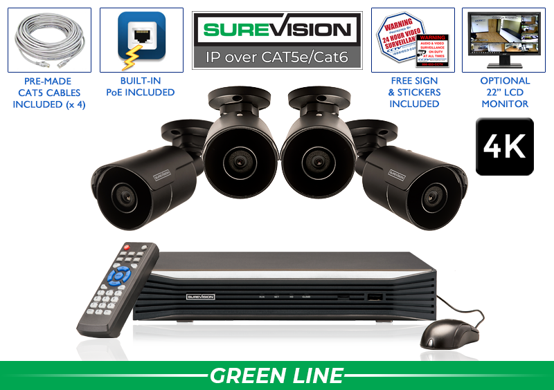 SUREVISION 4 Camera 4K Complete Indoor/Outdoor Bullet IP System