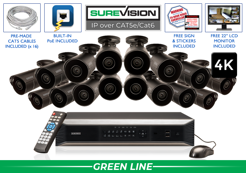 SUREVISION 16 Camera 4K Complete Indoor/Outdoor Bullet IP System