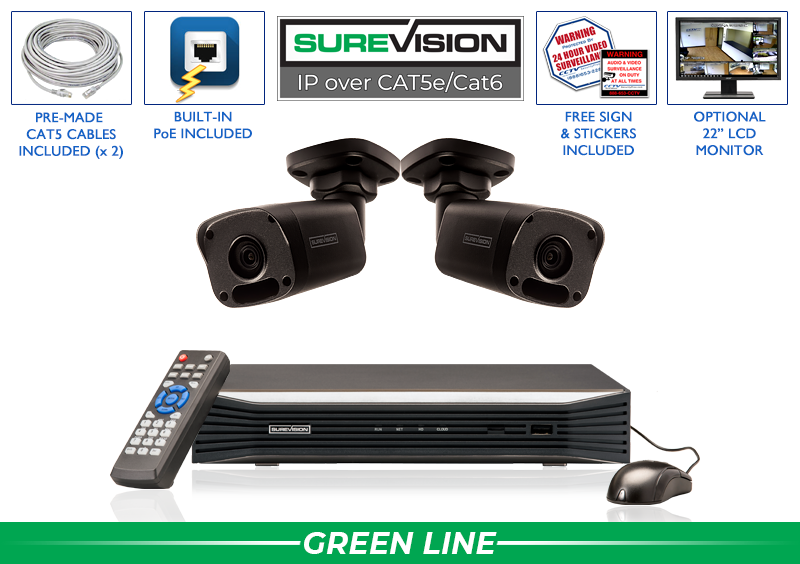 SUREVISION 2 Camera 4 MP  Complete Indoor/Outdoor Bullet IP System (Black)